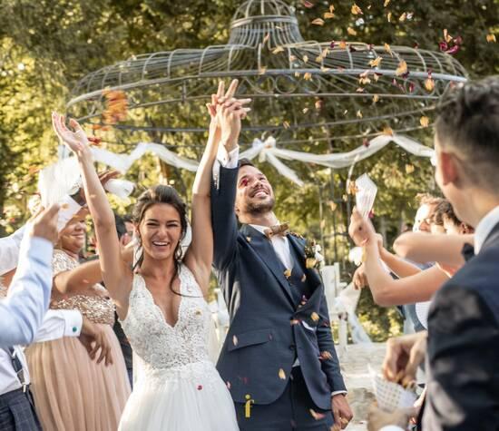 Sortie des mariés , cérémonie à la gloriette